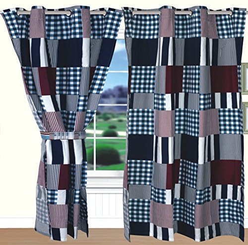 All American Collection New 4pc Printed Modern Curtain Set Curtain Set, Red/Navy Patchwork