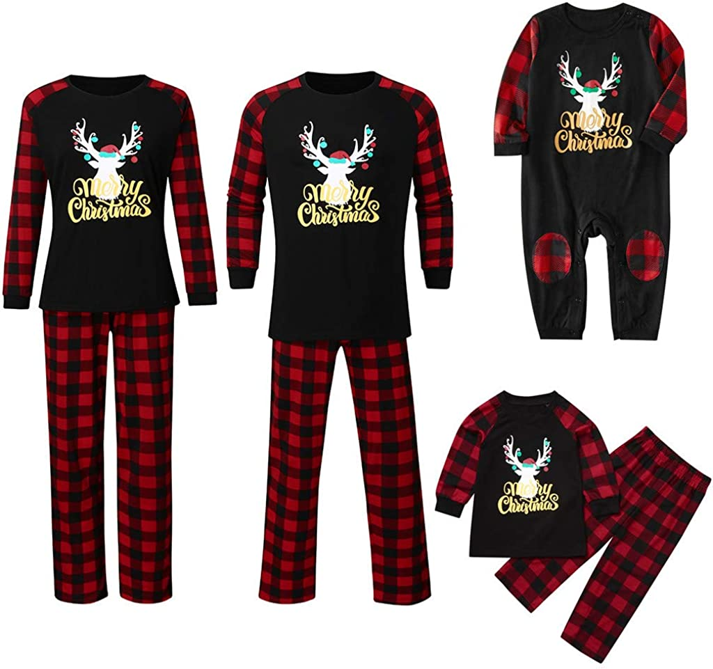 FEANO Matching Family Pajamas Sets Christmas PJs with Letter Printed Long Sleeve Tee and Red Plaid Pants Loungewear