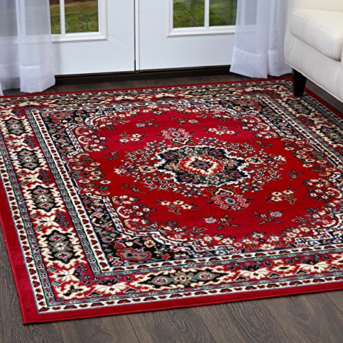 Home Dynamix Ariana Ksara 3 Piece Area Rug Set | Warm & Plush Red, Black,White | Living Room, Dining Room, Bedroom Entryway | Medallion with Bold Border Feature | 4'11
