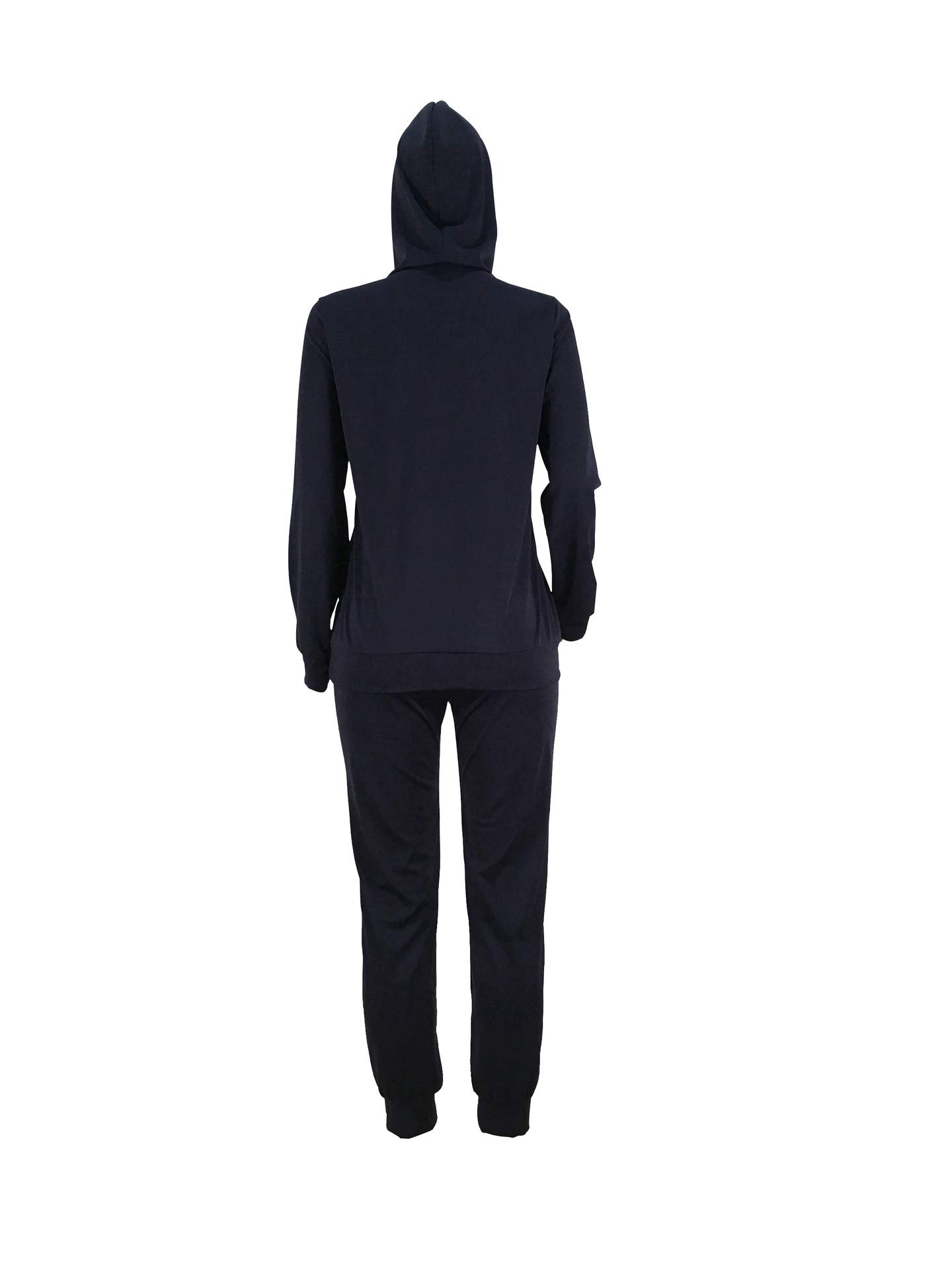 2 Piece Outfits for Women Ripped Hole Hoodies Pullover Tops and Sweatpants Sports Tracksuit Set Plus Size Dark Blue X-Large