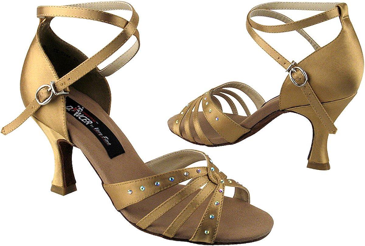 Very Fine Womens Salsa Ballroom Tango Latin Dance Shoes Style CD2808 Bundle with Plastic Dance Shoe Heel Protectors Tan Satin 9 M US Heel 2.5 Inch