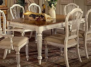 Wilshire Collection Wood Dining Table w Antique White Finish & Leaves