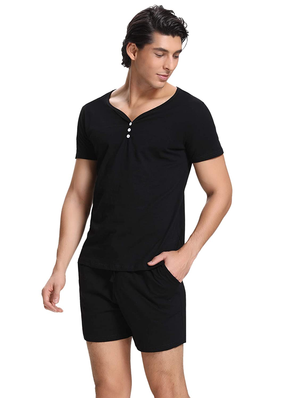 Hawiton Mens 100/% Cotton Pajamas Set Short Sleeve Crew Neck Lounge Sleepwear