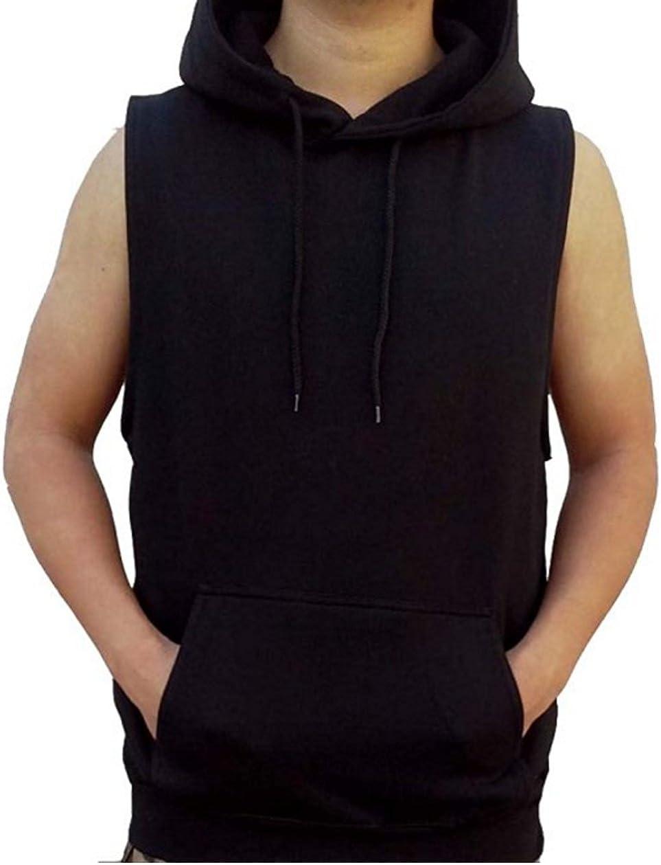 Fieer Mens Sleeveless Hoodie Plus-Size Drawstring Print Pullover Vests Tank Top