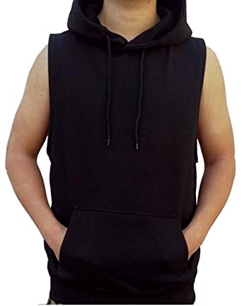 Men's Solid Hoodie Vest Sleeveless Hoodie Black S-4XL at Amazon ...