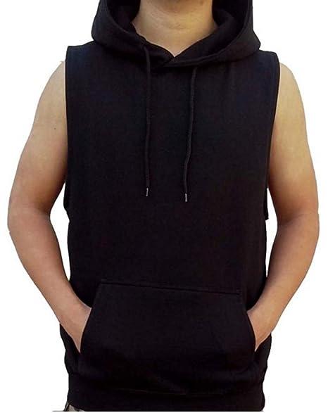 Men's Solid Hoodie Vest Sleeveless Hoodie Black S 4XL