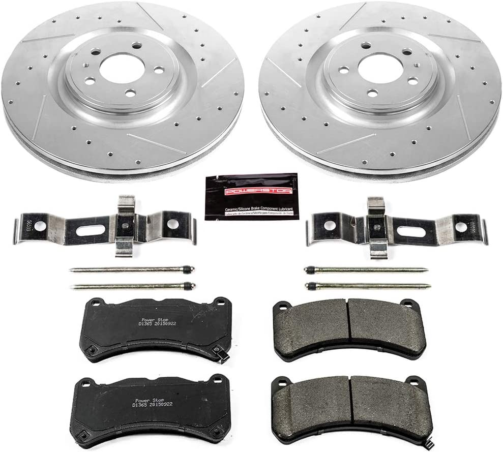 Power Stop K2069 Front Z23 Evolution Brake Kit with Drilled//Slotted Rotors and Ceramic Brake Pads
