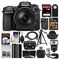 Nikon D7500 Wi-Fi 4K Digital SLR Camera with 18-300mm VR DX Lens, Case & 32GB Card + Flash + Battery & Charger + Tripod + 3 Filters + Strap Kit