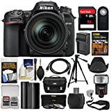 Nikon D7500 Wi-Fi 4K Digital SLR Camera with 18-300mm VR DX Lens, Case & 32GB Card + Flash + Battery & Charger + Tripod + 3 Filters + Strap Kit