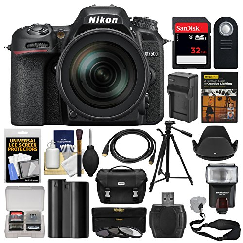 Nikon D7500 Wi-Fi 4K Digital SLR Camera with 18-300mm VR DX Lens, Case & 32GB Card + Flash + Battery & Charger + Tripod + 3 Filters + Strap Kit Review