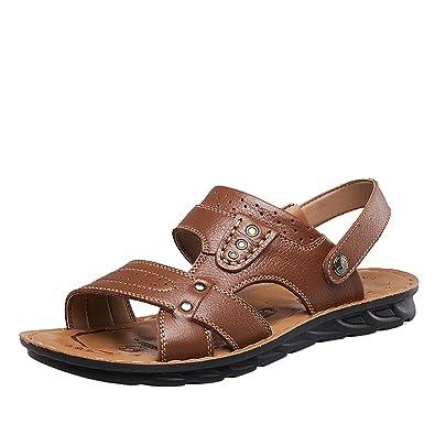 Shenn Herren Niedrig Ferse Zwei Tragen Sommer Slingback Leder Sandalen