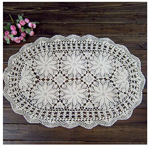 "WSHINE Crochet Cotton Sofa Table Cover Lace Doilies TableCloth for Furniture Decor (15.7""27.6"", white)"