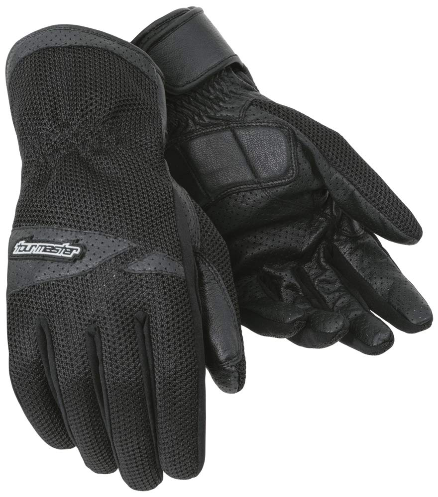 Tour Master Dri-Mesh Mens Leather/Textile Street Bike Racing Motorcycle Gloves - Black/Medium