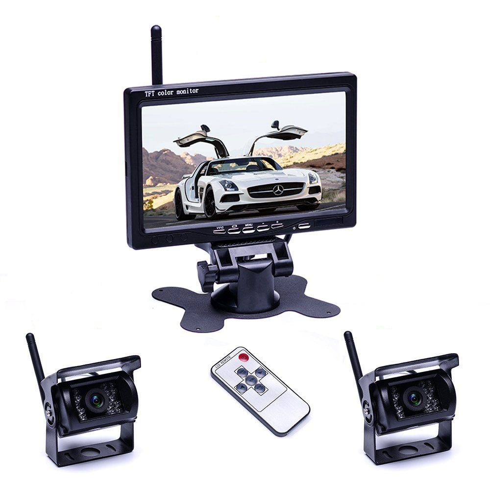origin カメラ2個搭載ワイヤレスバックカメラセット 防水 暗視 無線簡単取り付け 7インチモニター 12-24V兼用 2チャンネル トラック トレーラーなどに OMT77SET B07655XZNH