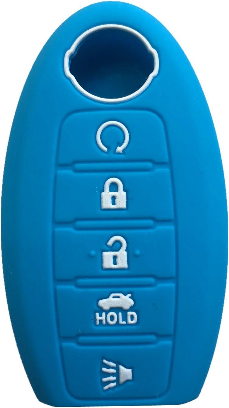 Rpkey Silicone Keyless Entry Remote Control Key Fob Cover Case protector For Nissan Armada Murano Maxima Altima Sedan Pathfinder(wathet)285E3-3TP5A KR5S180144014