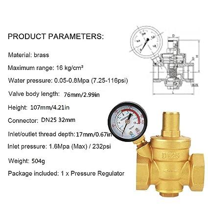 Druckminderventil DN25 1 Zoll Messing Wasserdruckminderventil 1  Einstellbare Wassersteuerung Druckregelventil Gewinde mit Manometer Meter