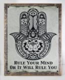 Framed Rule Your Mind or It Will Rule You Hamsa Metal Sign, Meditation, Hand of Fatima, Yoga
