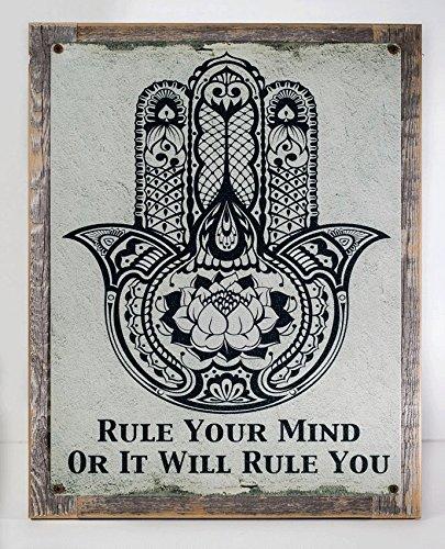 Yoga Meditation Sign - Framed Rule Your Mind or It Will Rule You Hamsa Metal Sign, Meditation, Hand of Fatima, Yoga