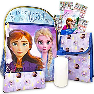 Disney Frozen Backpack Set for Girls ~ 6 Pc Deluxe 16″ Frozen Backpack with Lunch Bag, Water Bottle, Stickers and More (Frozen School Supplies)