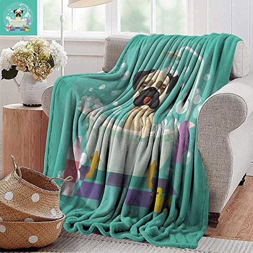 300gsm Sheets 50 (PearlRolan Summer Blanket,Nursery,Pug Dog in Bathtub Grooming Salon Service Shampoo Rubber Duck Pets in Cartoon Style Image,Teal,300GSM, Super Soft and Warm, Durable 50