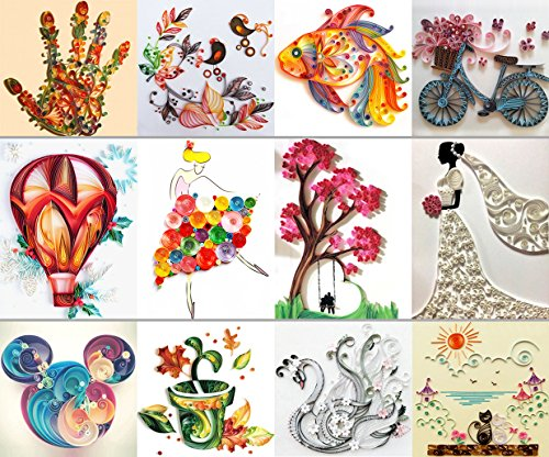 Lieomo 12Pcs Handmade Different Drawings Origami Paper DIY Quilling Tool Set by lieomo
