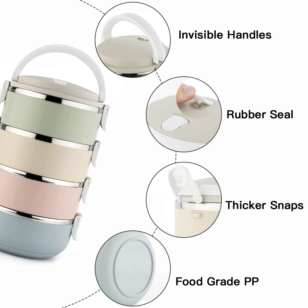 Spill Proof Dog Cat Travel Bowl Portable 304 Stainless Steel Multiple Layers Pet Water Food Storage Container with Invisible Handle for Pet Outdoor Traveling Raised Feeding (4 Layer) by YOUTHINK (Image #4)