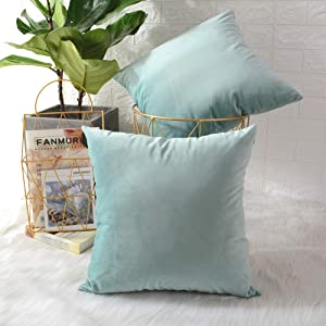 MERNETTE Pack of 2, Velvet Soft Decorative Square Throw Pillow Cover Cushion Covers Pillow case, Home Decor Decorations for Sofa Couch Bed Chair 16x16 Inch/40x40 cm (Light Green)