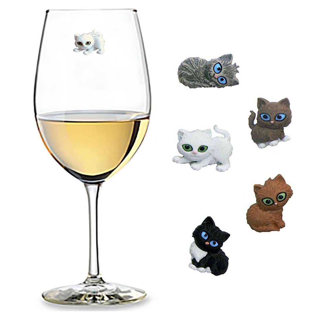 Cute Cat Wine Charms Set of 5 Magnetic Drink Markers for Stemless Glasses, Champagne Flutes and More - Fun Birthday, Hostess Gift Idea for Cat Lover