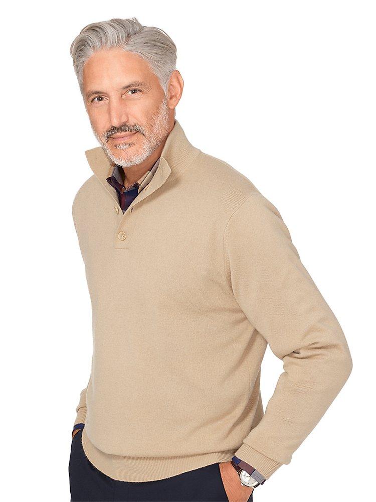 Paul Fredrick Men's Wool  Cashmere Button Neck Sweater Tan Xl