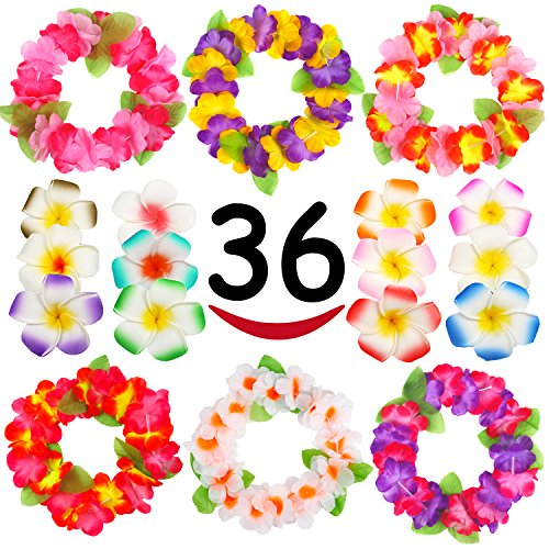 Hawaiian Luau, 36 Pack Flower Headband Lei and Hair Clips Set, Headpiece Hairpins Party Favors For Summer Beach Vacation, Tropical Party Decorations Supplies, Birthday, Wedding And Costume Events