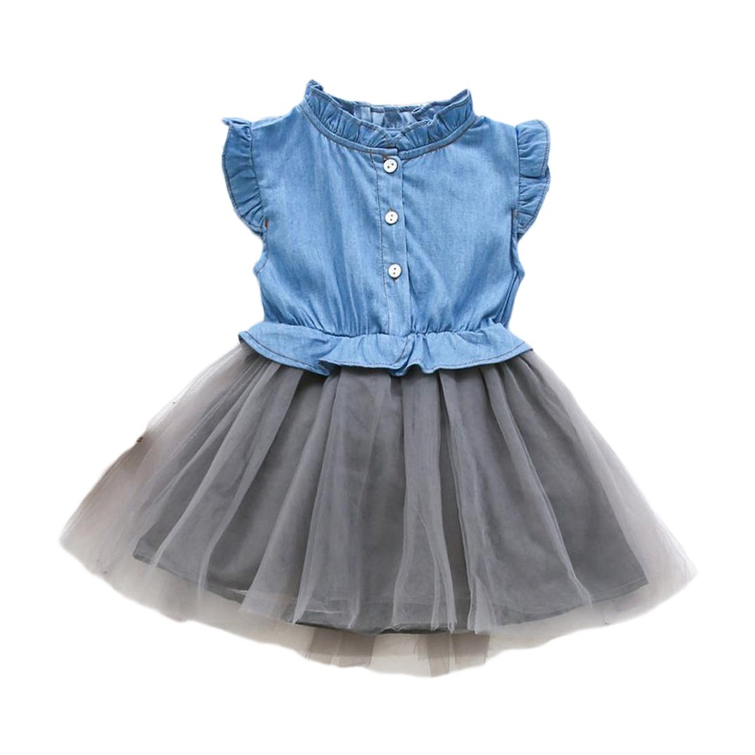 CSSD Toddler Kids} {Baby Girls} {Denim Patchwork Ruched} {Sleeveless} {Princess Dress} Clothes (7T, Light Blue) by CSSD