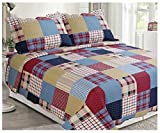 Elegant Home Multicolor Burgundy Navy Blue White Tan Striped Patchwork Pattern with stripes Design 3 Piece Coverlet Bedspread Quilt King Size # 1033