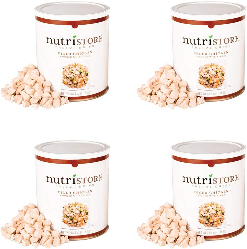 Nutristore Freeze-Dried Chicken | Emergency Survival Bulk Food Storage Quality White Chicken | Perfect for Lightweight Backpacking or Home Meals | USDA Inspected | 25-Year Shelf Life