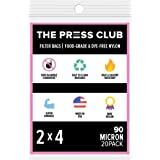 90 Micron Premium Nylon Tea Filter Press Screen Bags, 2 x 4 Inch, 20 Pack, Zero Blowout Guarantee, All Micron & Sizes Available