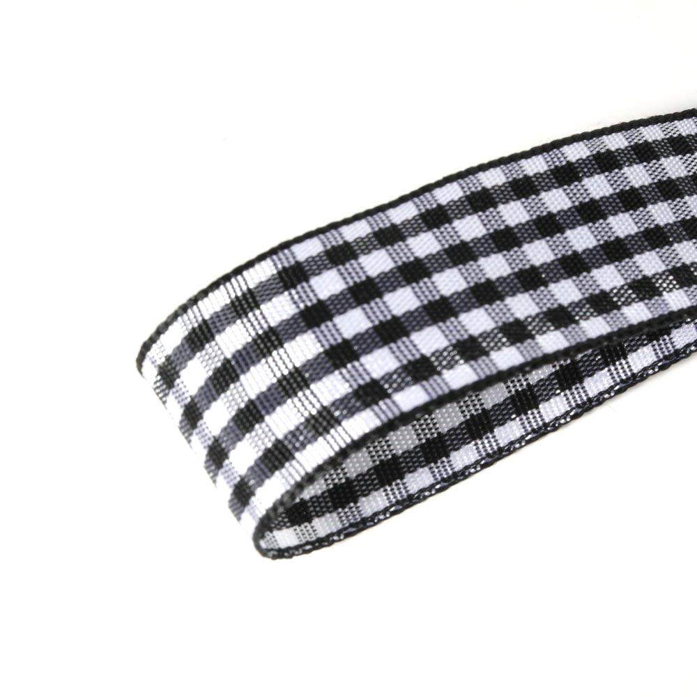 Micomon Black Gingham Plaid Checked Ribbon 25 Yard Each Roll 100/% Polyester 3//8, Black