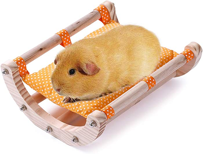 JanYoo Guinea Pig Bed Hedgehog House Pad Rabbit Bunny Bed Toy Cage Accessories Chair Shaker Wooden Detachable Frame(Orange)