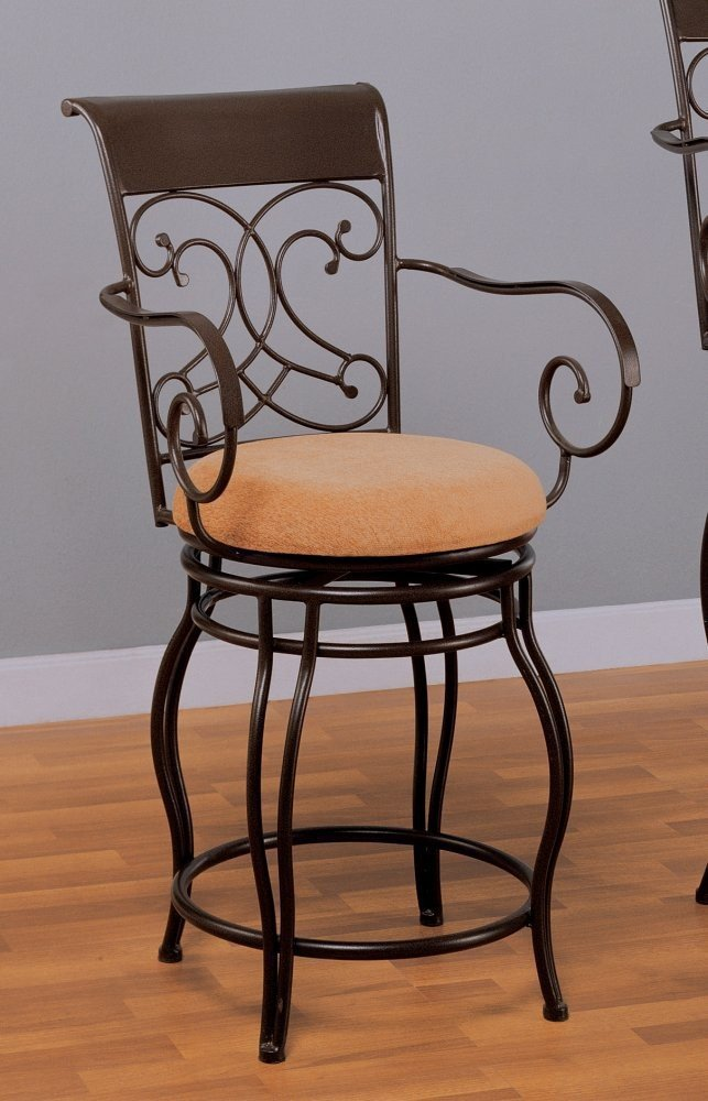 Coaster Home Furnishings 24 h Barstool in Black Metal and Dark Brown Finish