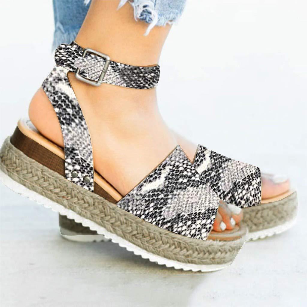 f6a45ef7cf Amazon.com: 2019 Womens Stylish Platform Open Toe Espadrille Sandal Ankle  Pumps Straw Thick Bottom Shoes Snake Grain Roman Shoes: Clothing