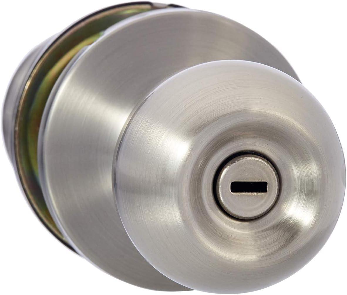 AmazonBasics Bedroom/Bathroom Door Knob With Lock, Standard Ball, Satin Nickel