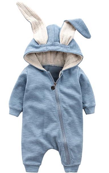 c8b58f7475cb7 Newborn Baby Boys Girls 3D Cartoon Rabbit Ear Hooded Romper Onesies Zipper  Jumpsuit Outfits (0
