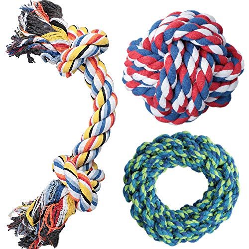 DELOMO Dog Rope Toy, 3 Pack Dog Chew Toys, Dog Toys Set with 100% Natural Cotton, Dog Toys for Large Dogs