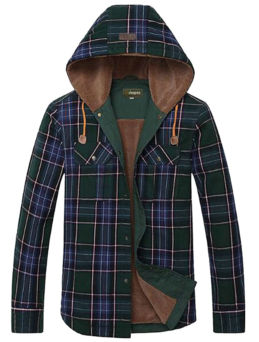 YY-qianqian Mens Autumn and Winter Casual Plaid Fleece Lined Long Sleeve Hooded Button Down Shirt