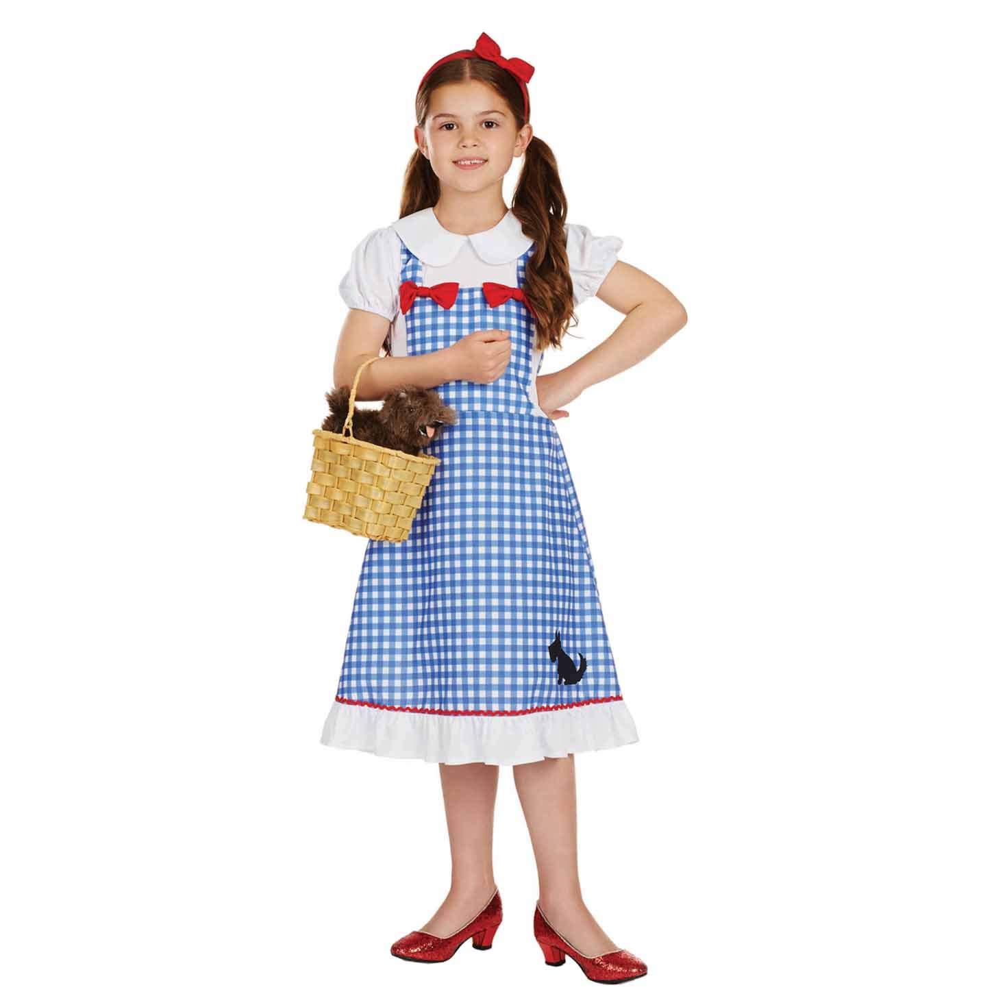 KANSAS GIRL COSTUME WITH BASKET GIRLS SCHOOL BOOK DAY DOROTHY CHILDS FANCY DRESS
