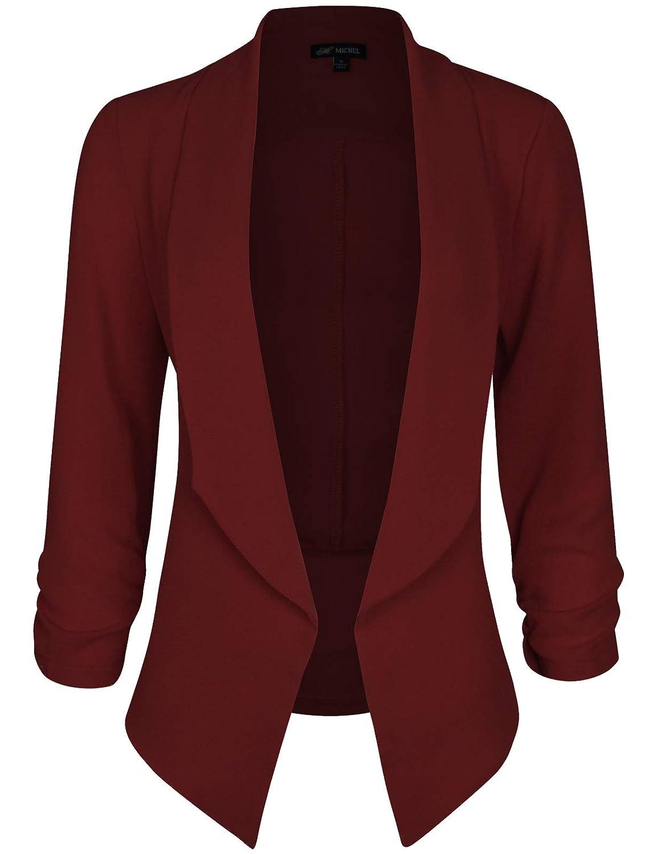 Michel Women's 3/4 Sleeve Blazer Light Weight Chiffon Casual Open Front Cardigan Jacket Work Office Blazer Michel-R7116