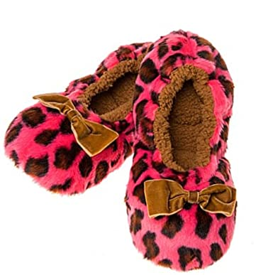 71369e144 Deep Dusky Pink Soft Plush Animal Leopard Print Snoozies Fluffy Slippers  (Medium UK 5-6)  Amazon.co.uk  Clothing