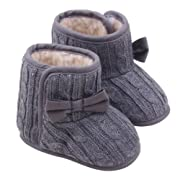 Orangeskycn Winter Boots Baby Girl,Baby Bowknot Soft Sole Winter Warm Shoes Boots (3-6 Months, Gray)