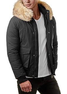 EightyFive Herren Winter-Jacke Fell-Kapuze Gesteppt Zipper Khaki Navy  Schwarz EF321 ce938f60be