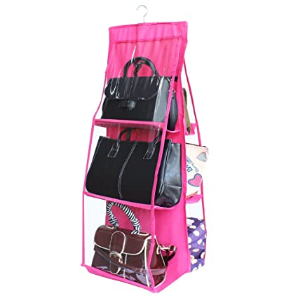 5adf0989ee Amazon.com  Dreamtop 6 Pockets Handbag Storage Bag Pouches Large Clear Purse  Hanging Organizer Closet Rose Pink  Home   Kitchen