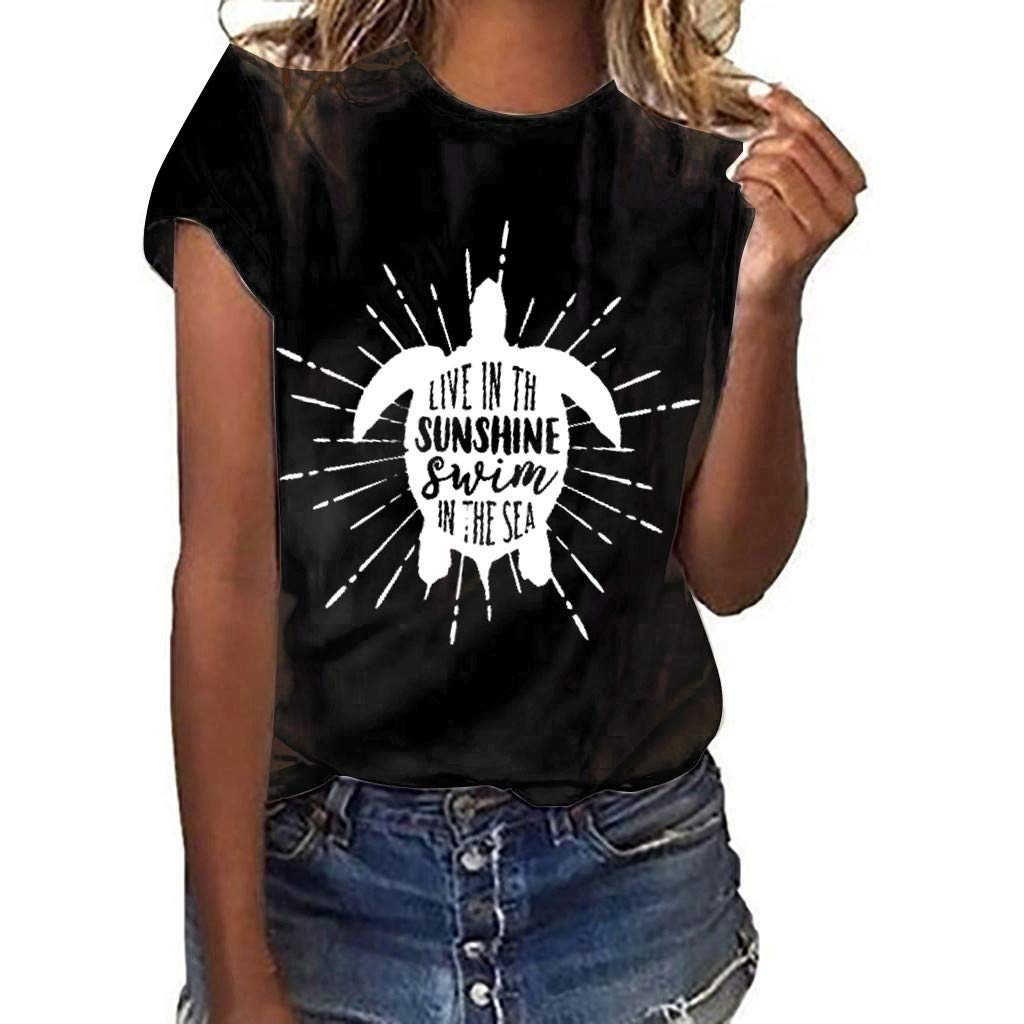 ZOMUSAR Women T-Shirt, Women Girls Plus Size Print Shirt Short Sleeve T Shirt Blouse Tops Black by ZOMUSAR