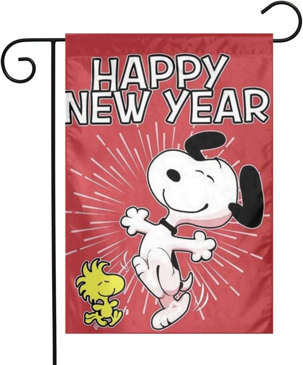 Criss Snoopy Happy New Year Garden Flag Perfect Decor for Outdoor Yard Porch Patio Farmhouse Lawn, 12 X 18 Inch